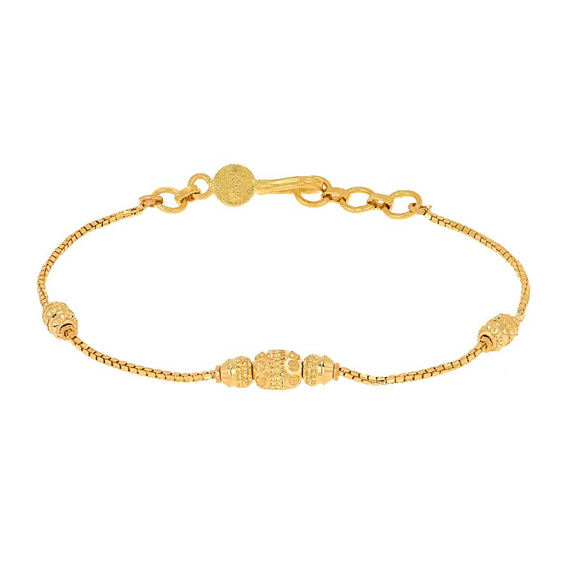22k Gold Dainty Beaded Chain Bracelet