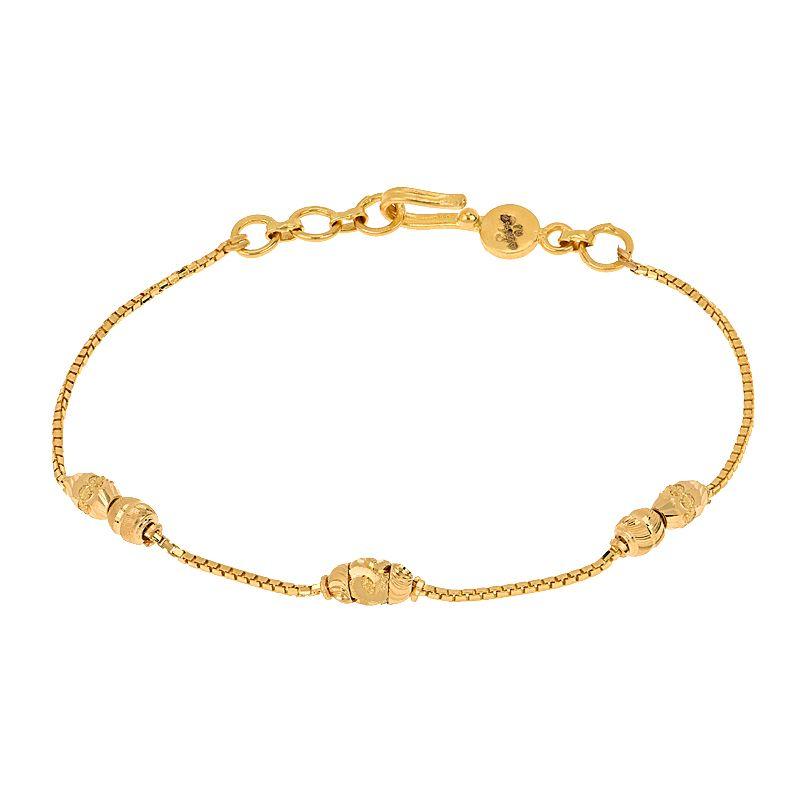 22k Gold Slim Beads Chain Bracelet
