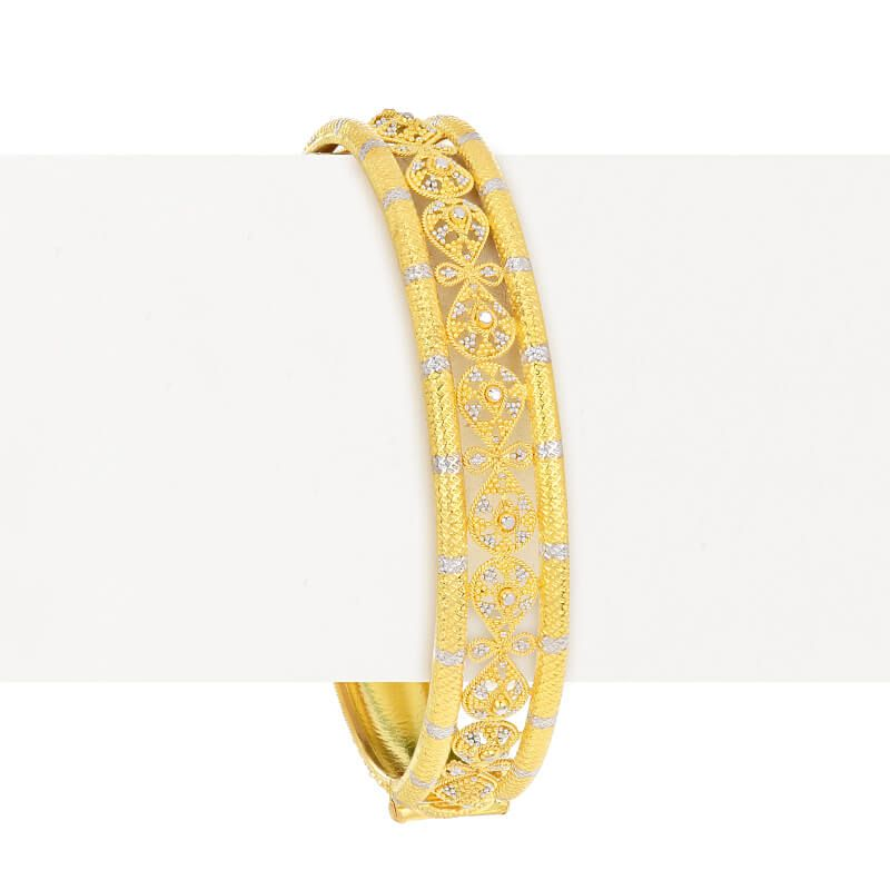 22k Gold Mutli Design Bangle Bracelet