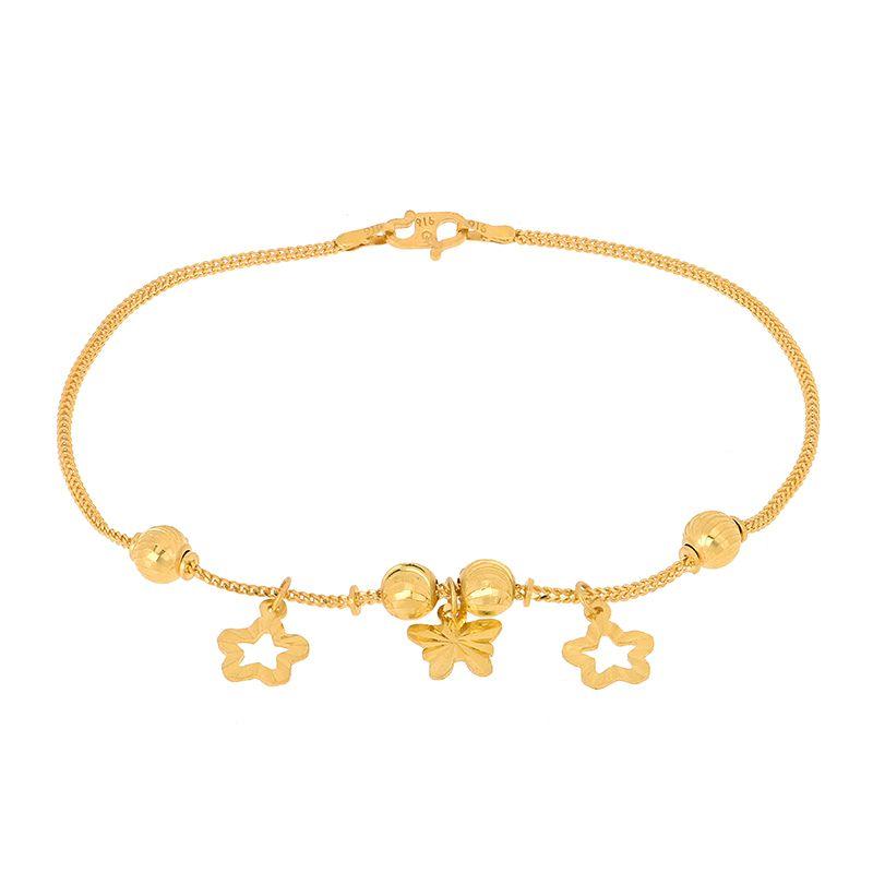 22k Gold Butterfly Stars Charms Bracelet