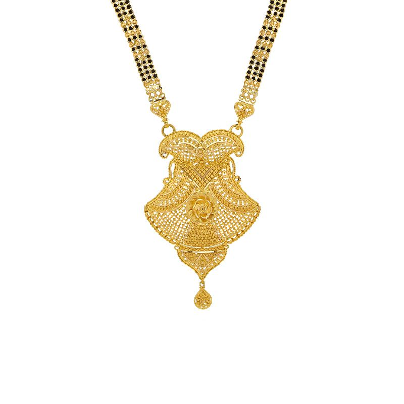 22k Gold Filigree Pendant Long Mangalsutra