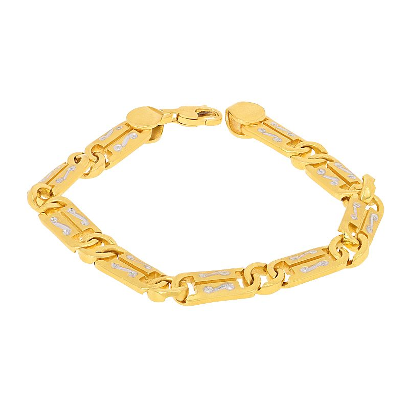 22k Gold Two-Tone Links Bracelet