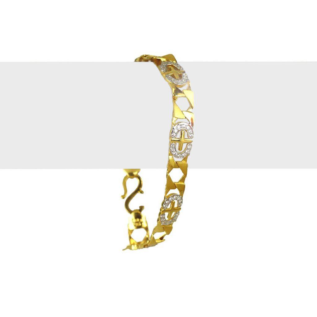 22k Gold Channel Set Men's Bracelet