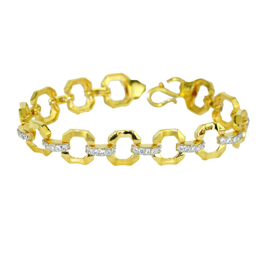 22k Gold Men's Cz Loop Bracelet