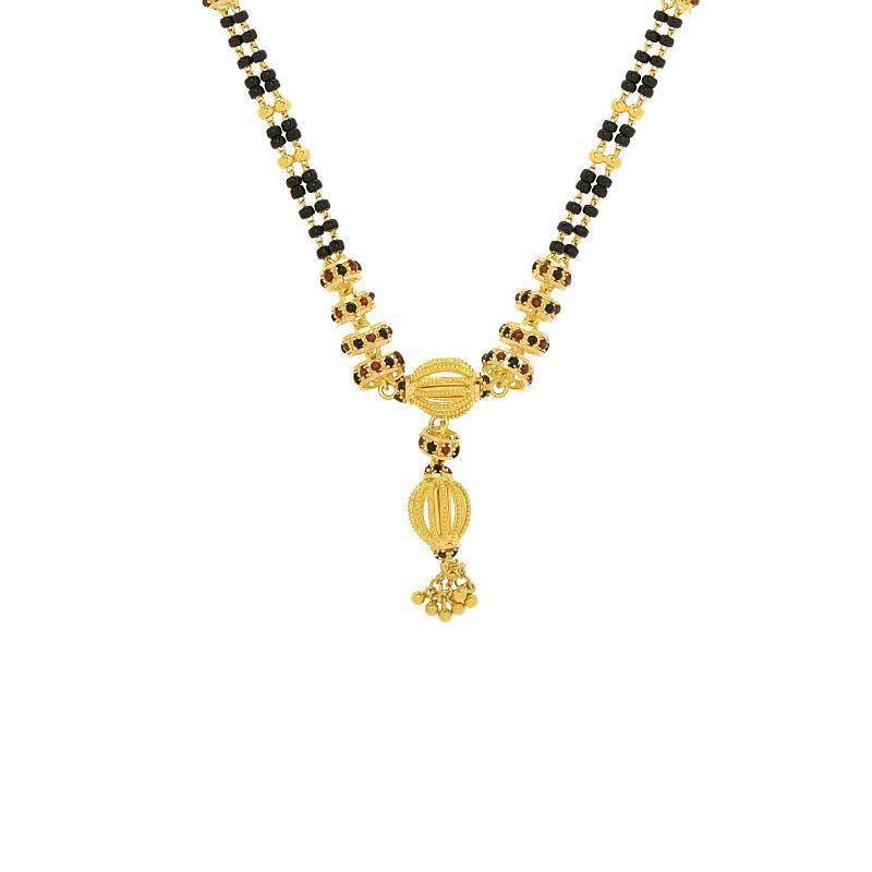 22k Gold Black Beads Enamel Mangalsutra