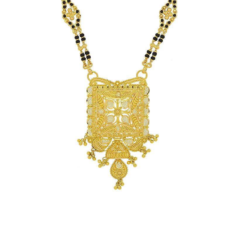 22k Gold Square Filigree Pendant Mangalsutra
