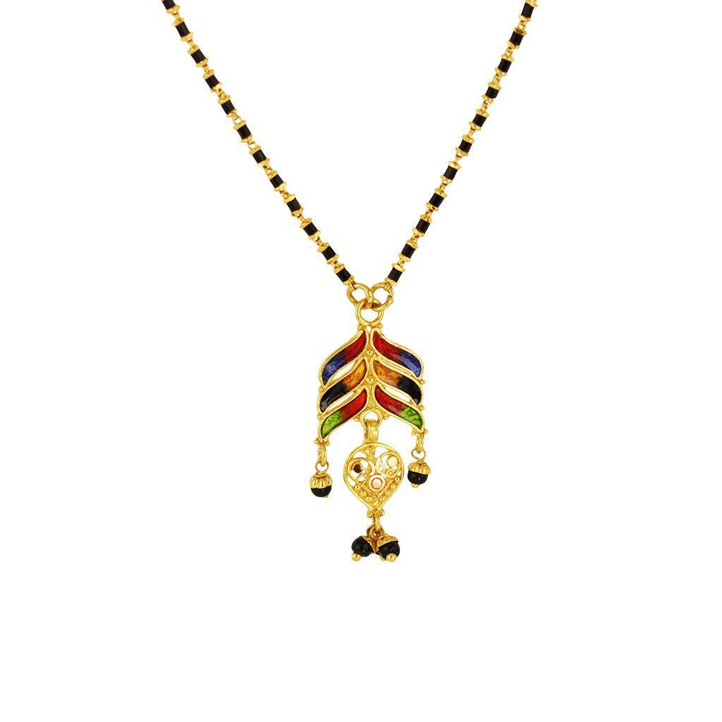 22k Gold Enamel Pendant Mangalsutra