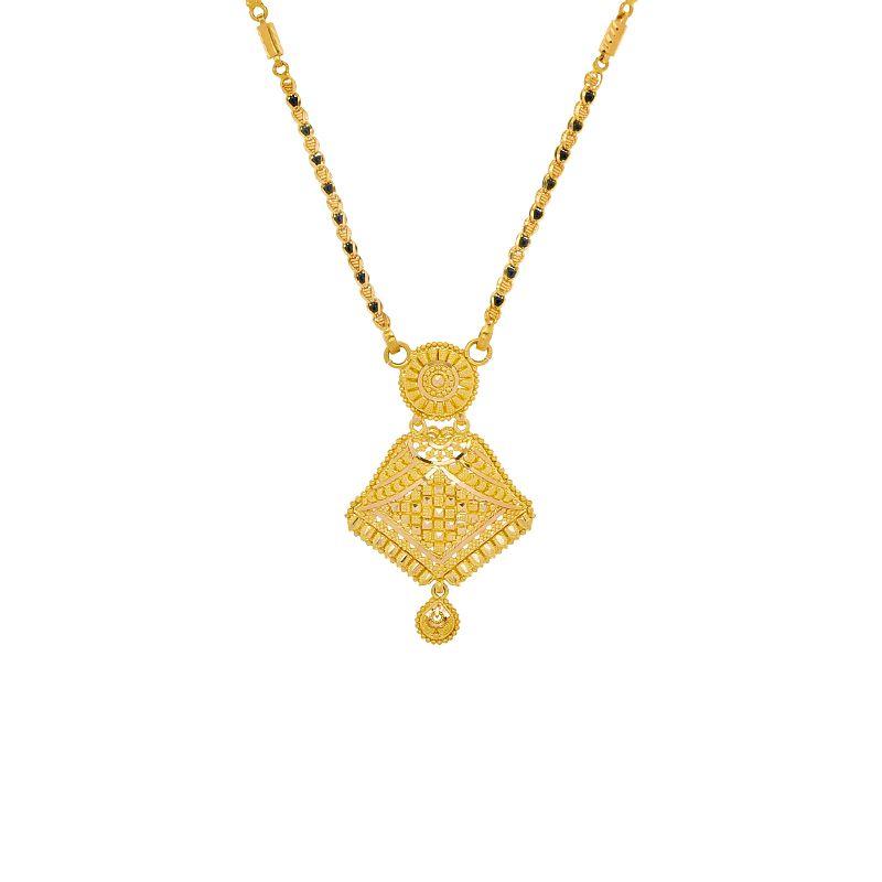 22k Gold Abstract Filigree Pendant Mangalsutra