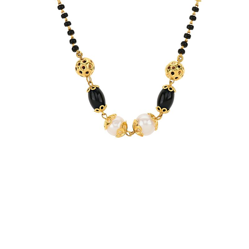 22k Gold Pearl Beaded Gold Mangalsutra