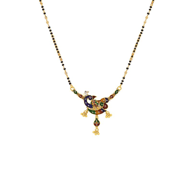 22k Gold Peacock Meenakari Mangalsutra