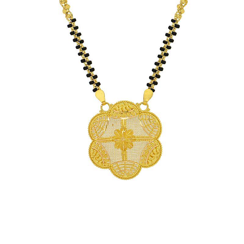 22k Gold Floral Mesh Design Mangalsutra
