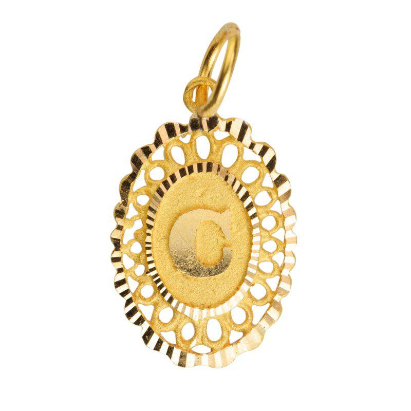 22k Gold Letter C Oval Pendant