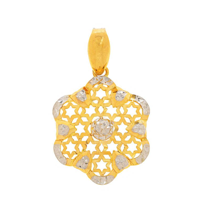 22k Gold Floral Two-Tone Pendant