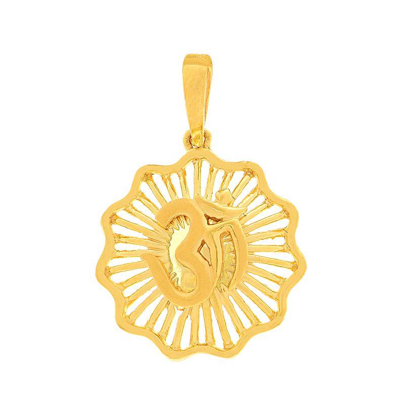 22k Gold Sunburst Om Gold Pendant
