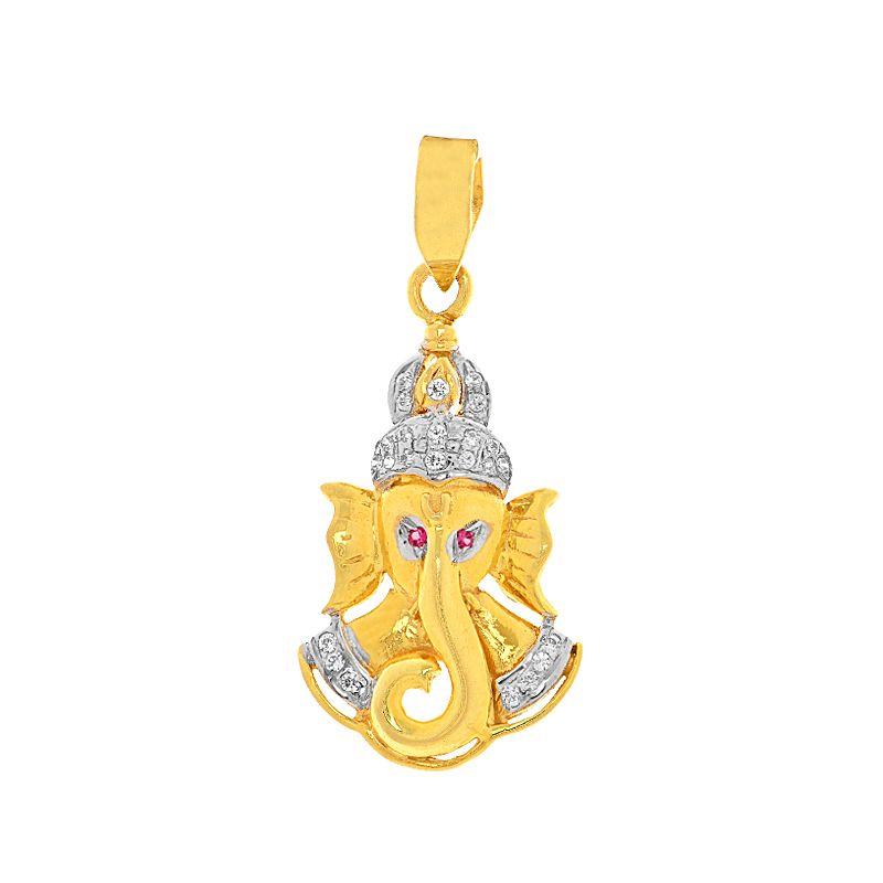 22k Gold Lord Ganesh Cz Pendant