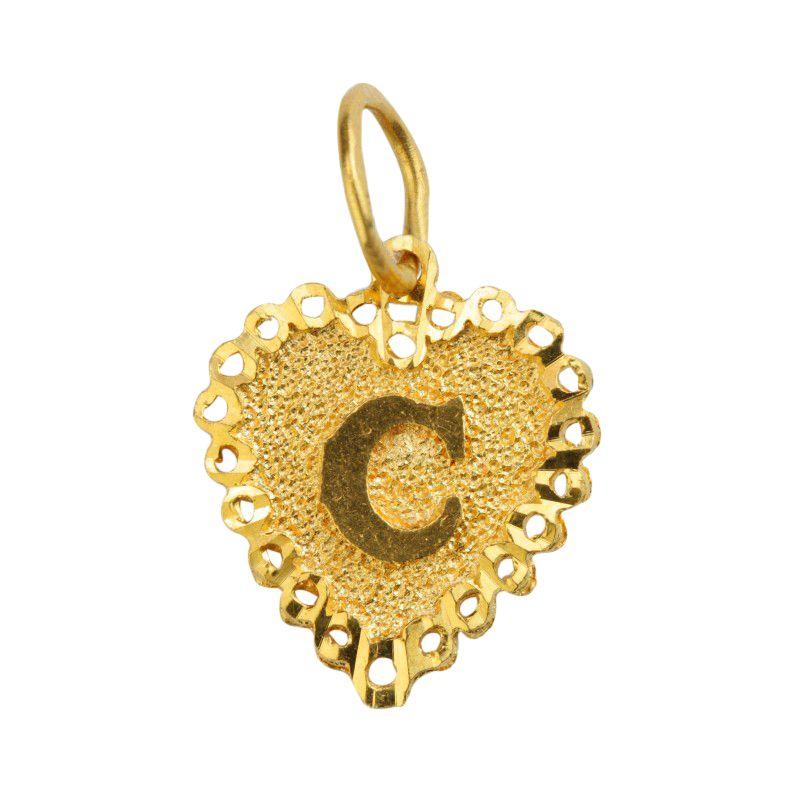 22k Gold Letter C Heart Pendant