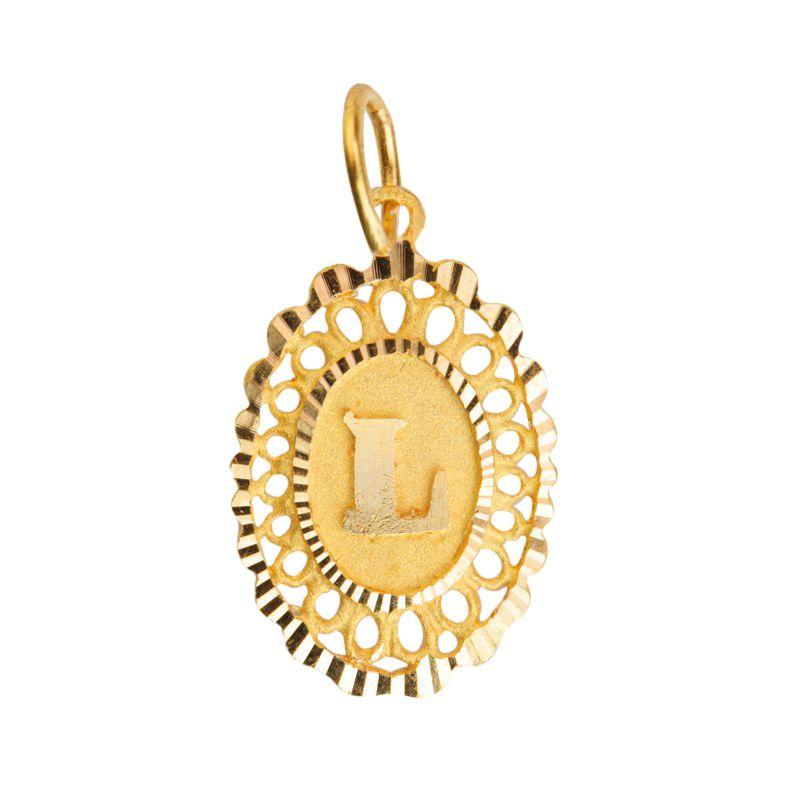22k Gold Letter L Oval Pendant