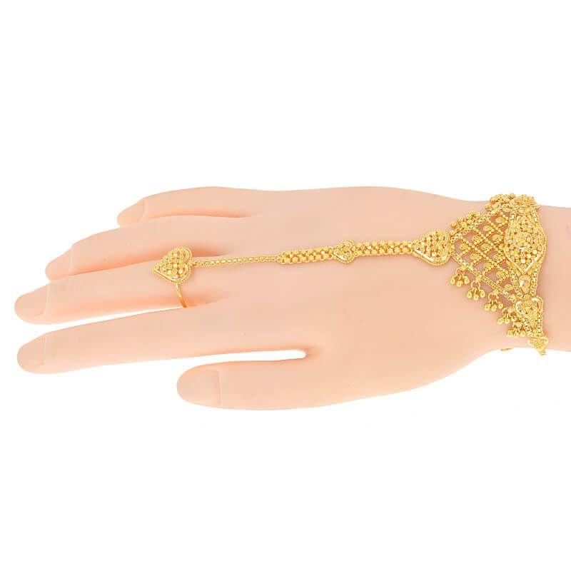22k Gold Heart Ring Chain Bracelet