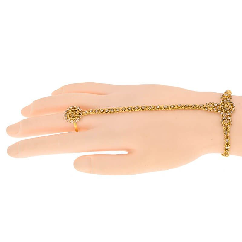 22k Gold Antique Ring Chain Bracelet