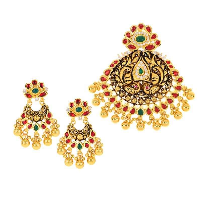 22k Gold Rajwada Peacock Pendant Set