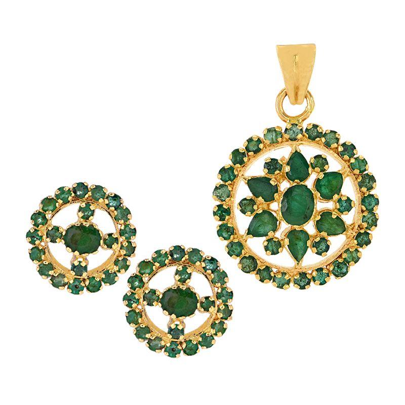 22k Gold Round Emerald Cluster Pendant Set