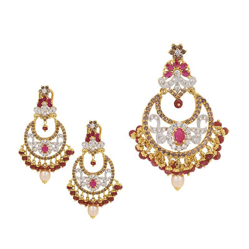 22k Gold Gems Pearls Pendant Set