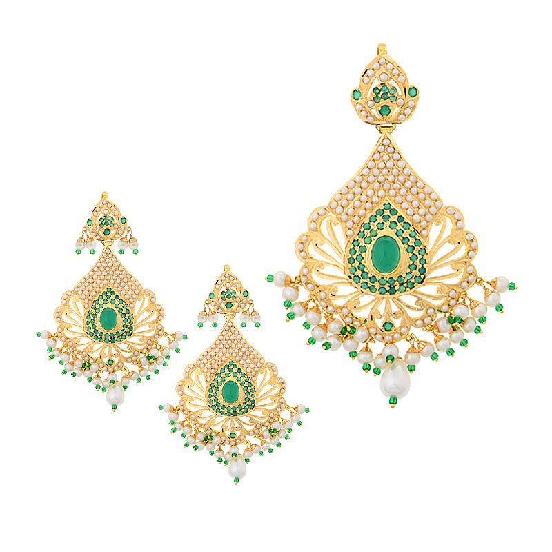22k Gold Pearls Emeralds Pendant Set