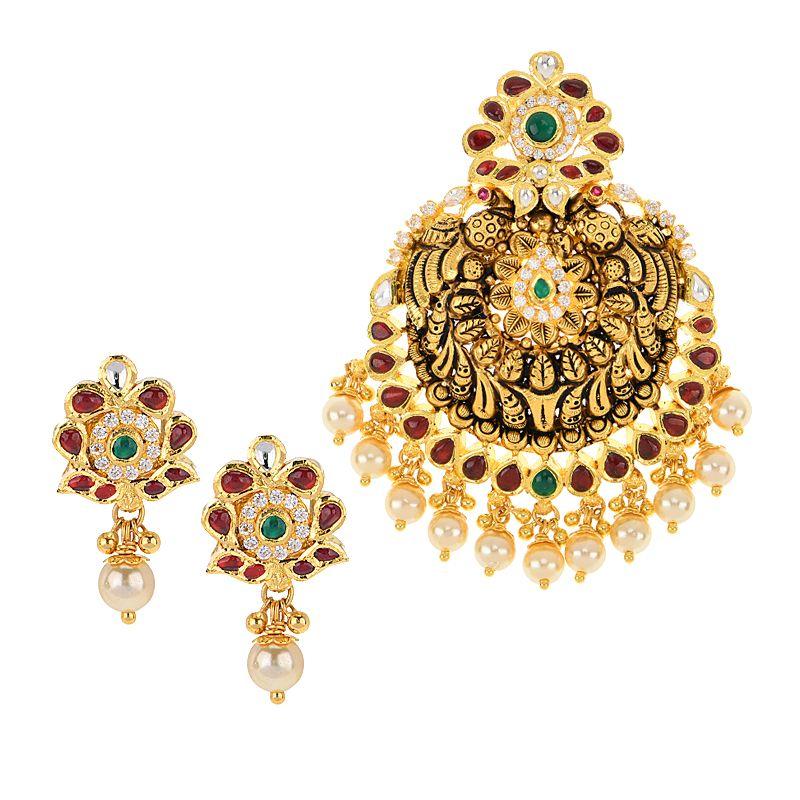 22k Gold Antique Pearls Pendant Set