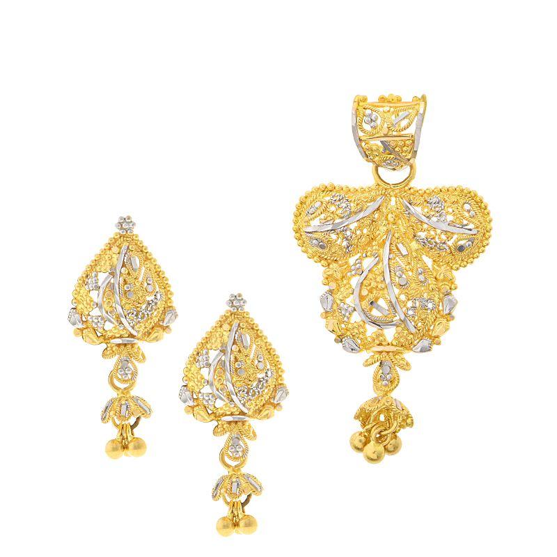 22k Gold Filigree Gold Pendant Set