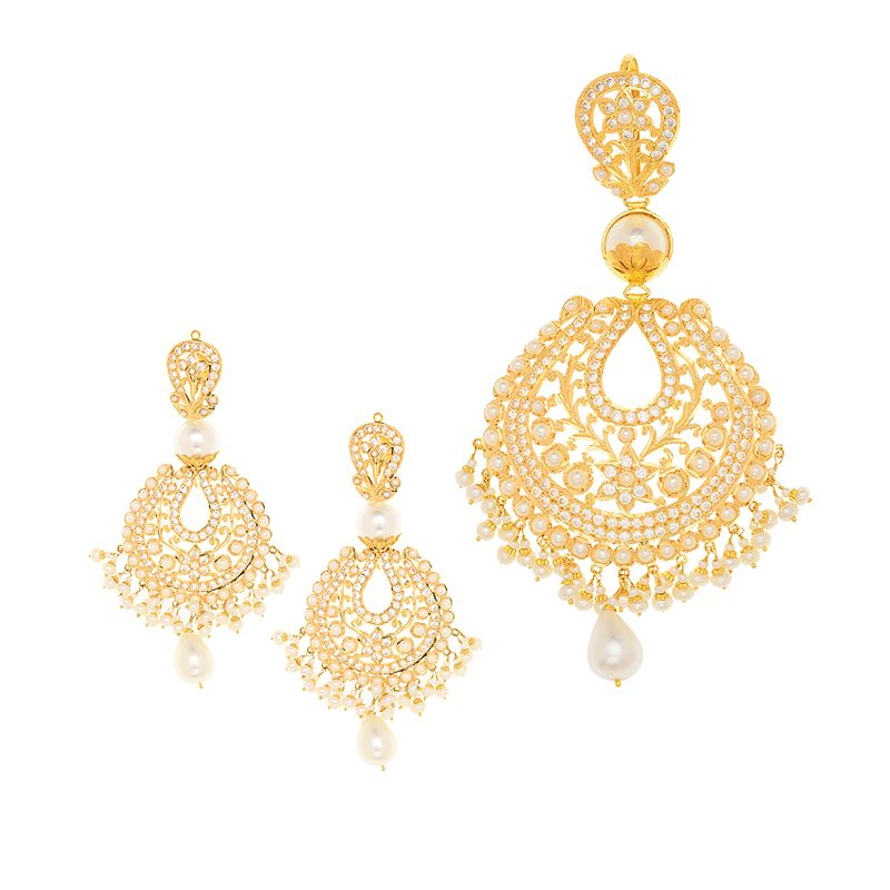 22k Gold Jhumar Pearls Pendant Set