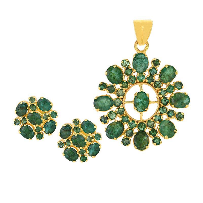 22k Gold Emerald Florante Pendant Set