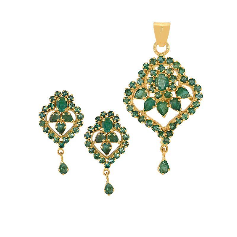 22k Gold Emerald Drop Pendant Set