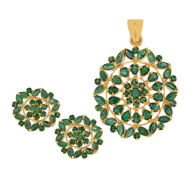 22k Gold Florence Emerald Pendant Set
