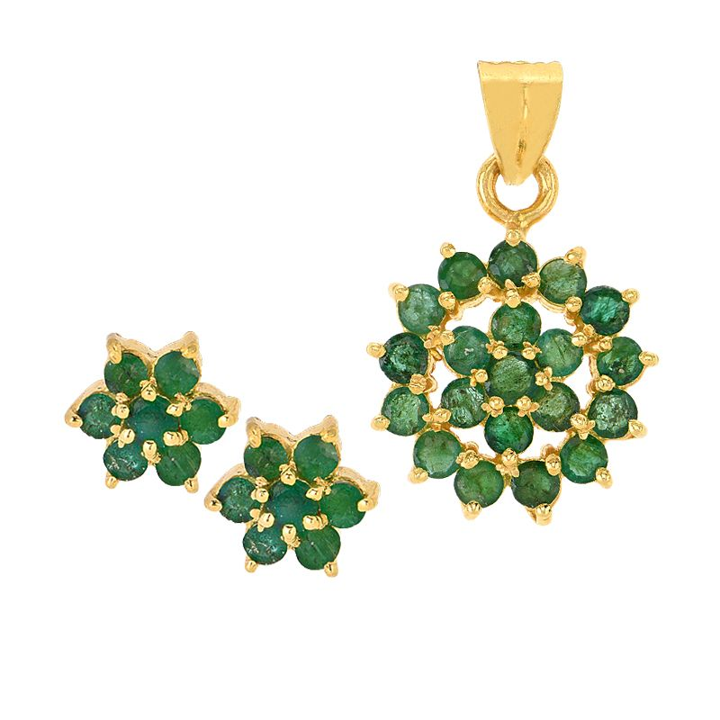 22k Gold Florett Emerald Pendant Set