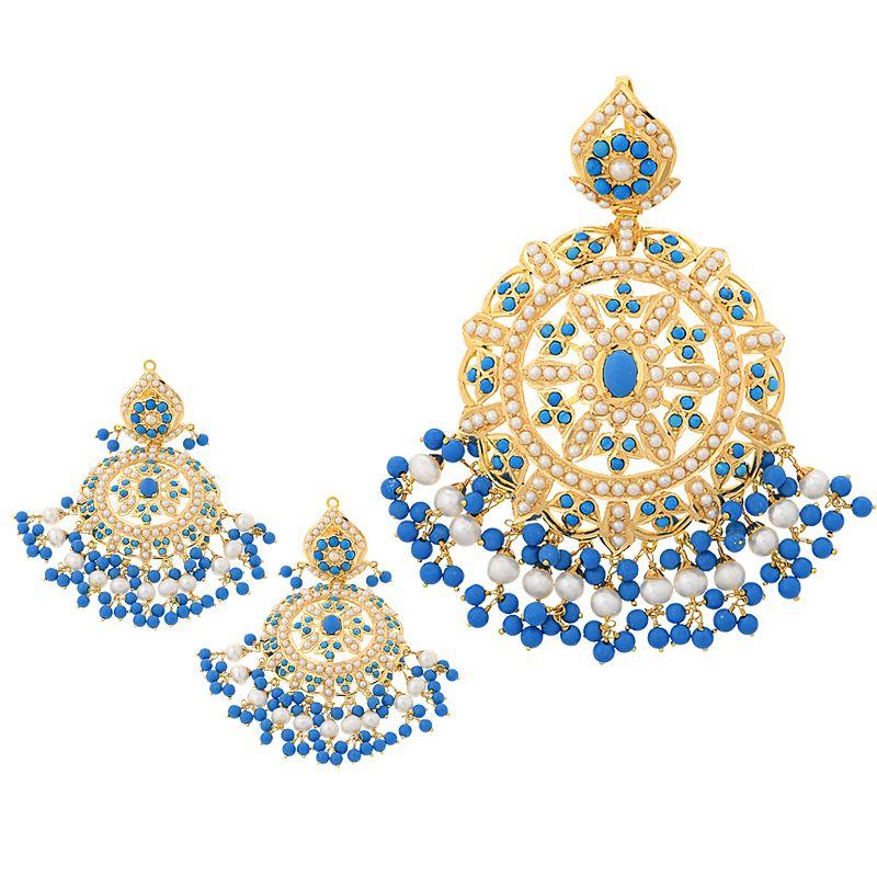 22k Gold Firoza Pearls Pendant Set