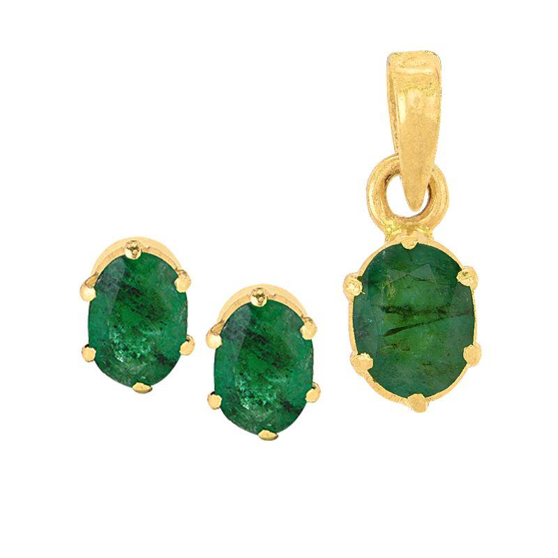 22k Gold Oval Emerald Pendant Set