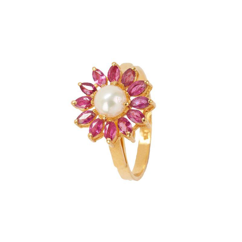 22k Gold Roseate Pearl Gemstone Ring