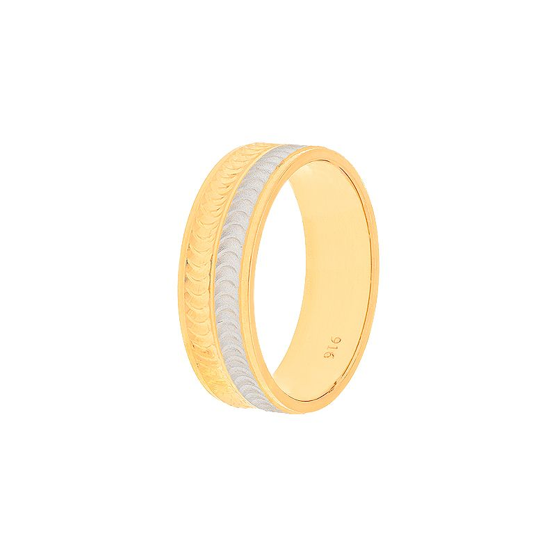22k Gold Incised Waves Wedding Band - 10.5