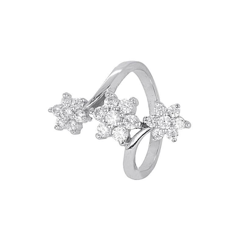 18k Gold Triad Blossom Cz Ring