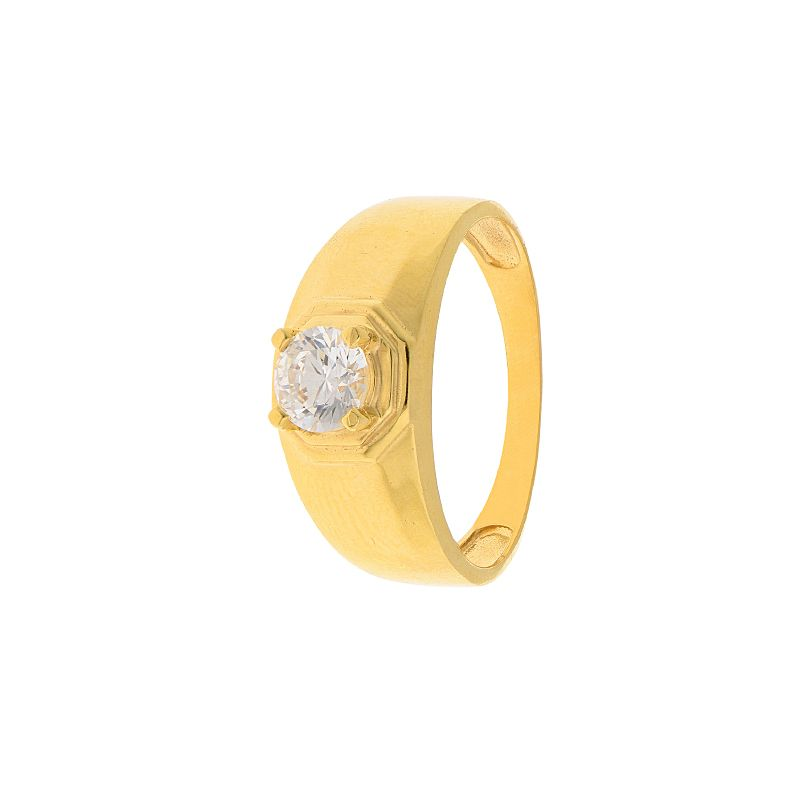 22k Gold Solid CZ Gold Ring