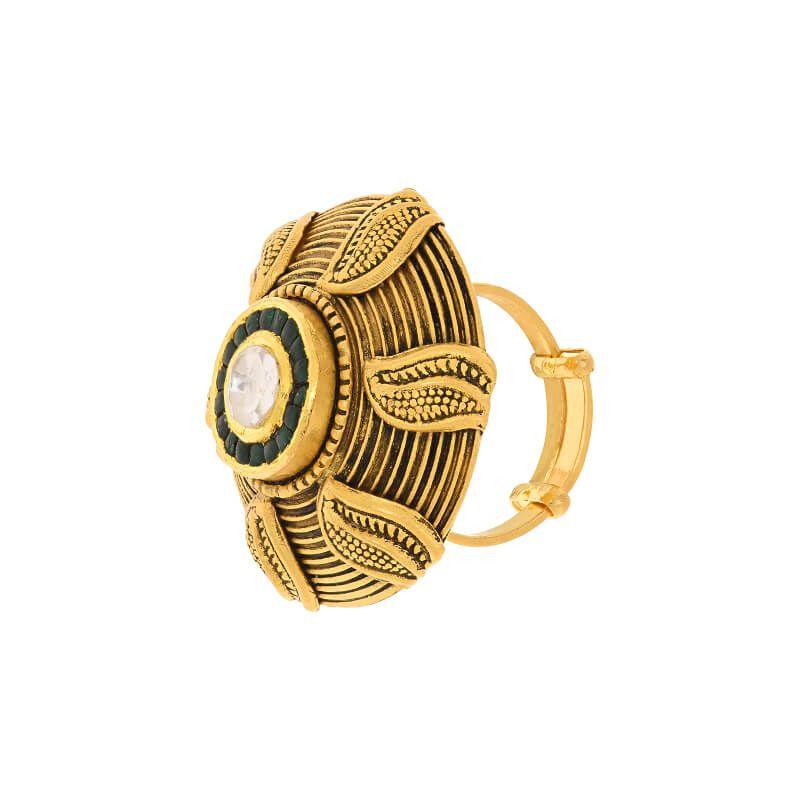 22k Gold Retro Art Kundan Ring