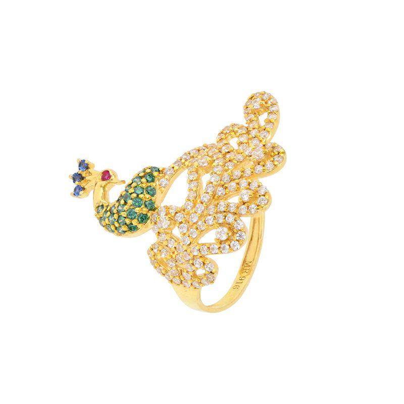 22k Gold Shimmer Tail Peacock Ring