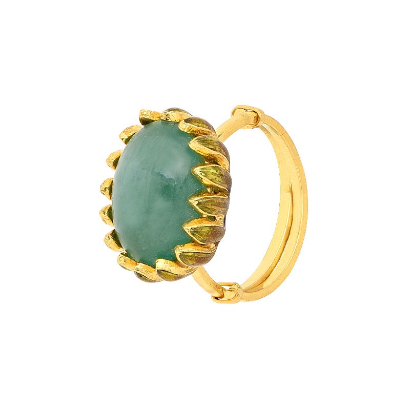 22k Gold Emerald Scroll Gold Ring