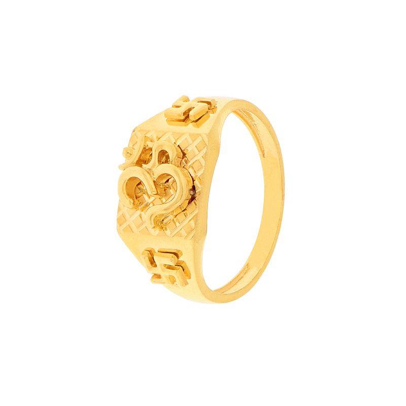22k Gold Om Swastik Gold Ring