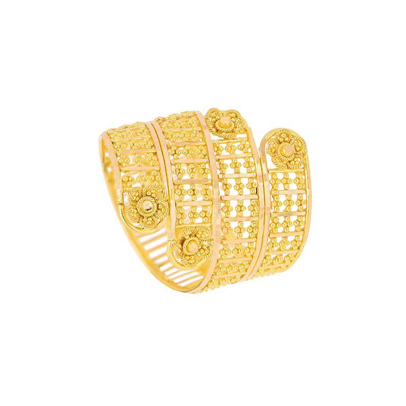 22k Gold Fancy Floral Wrap Ring