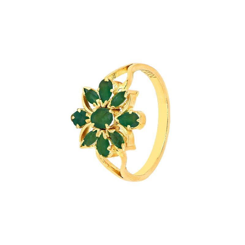 22k Gold Emerald Floral Gold Ring