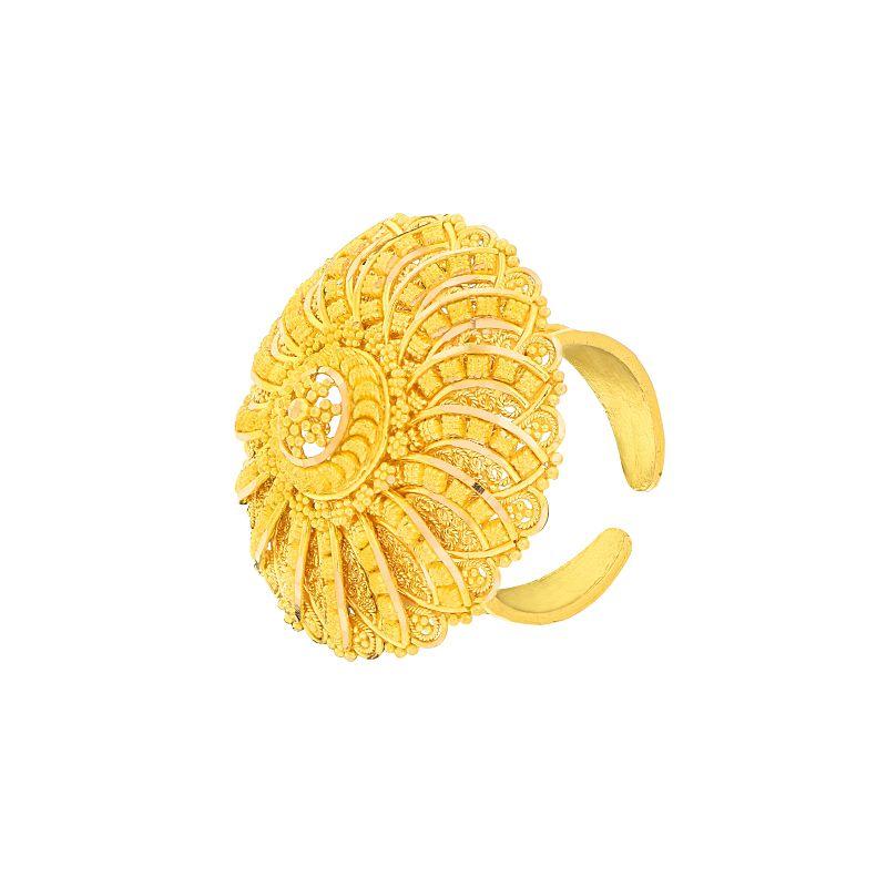 22k Gold Filigree Cocktail Gold Ring