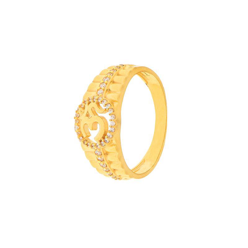 22k Gold Om Cz Men's Ring