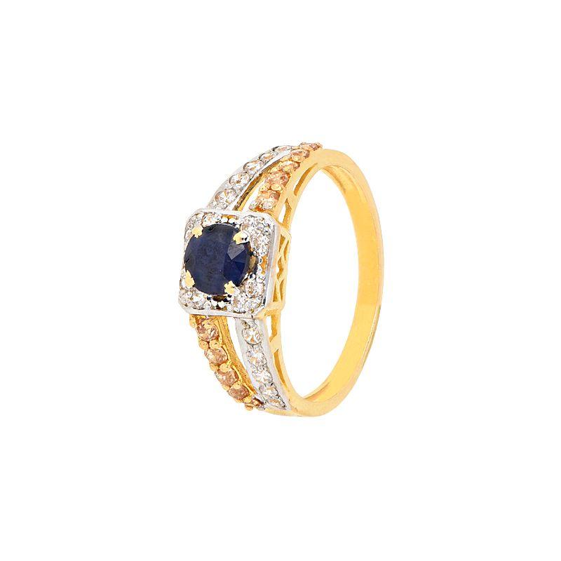 22k Gold Sapphire CZ Gold Ring