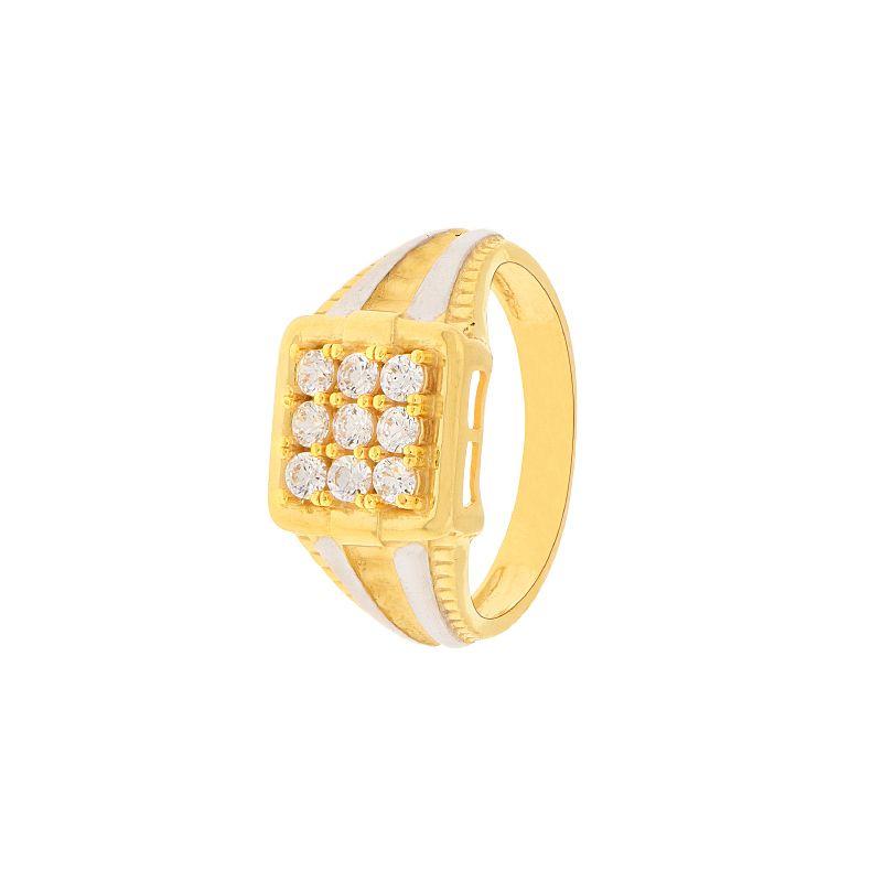 22k Gold CZ Two-Tone Maze Ring